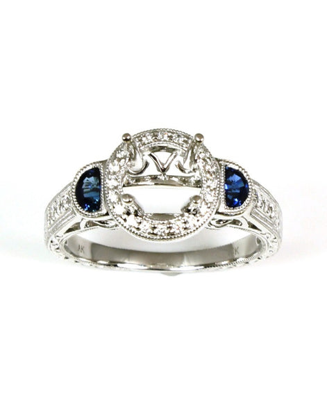 Sapphire and Diamond Halo Fashion Ring Setting by Allison Kaufman