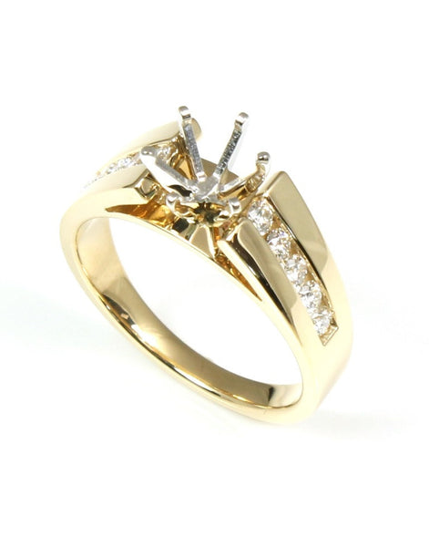 Wide Cathederal Channel Diamond Ring Setting by Allison Kaufman