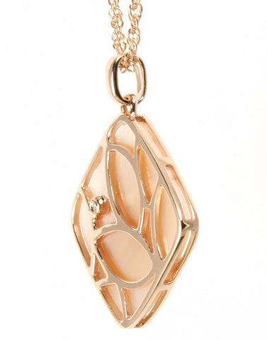 Rose Mother of Pearl and Diamond Necklace by Allison Kaufman