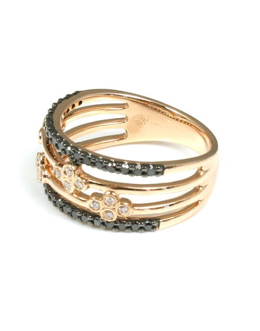 Wide Black and White Diamond Band by Allison Kaufman