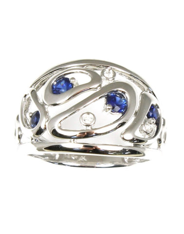 Wide Diamond and Sapphire Free Form Ring