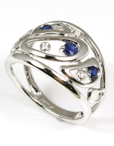 Wide Diamond and Sapphire Free Form Ring by Allison-Kaufman