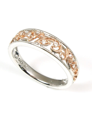 Filigree Design Diamond Band by Allison Kaufman