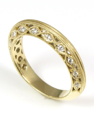 Fancy Milgrain Diamond Wedding Band by Allison Kaufman