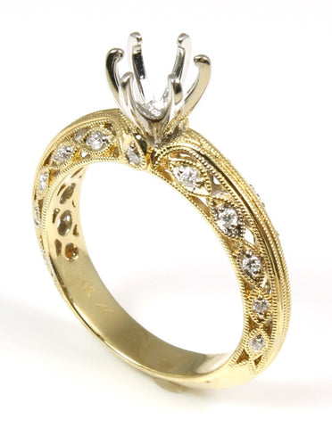 Fancy Milgrain Diamond Engagement Ring Setting by Allison Kaufman
