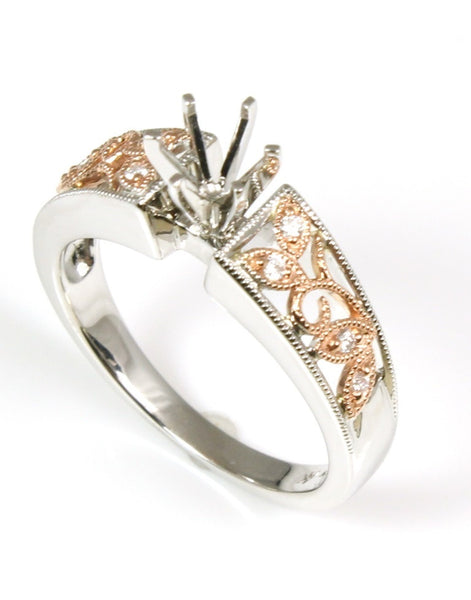 Milgrain Rose Diamond Ring Setting by Allison Kaufman