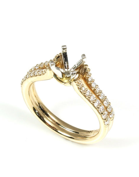 Double Row Pave Diamond Ring Setting by Allison Kaufman