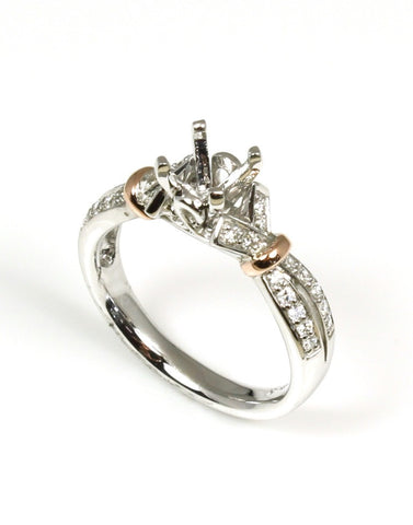 Rose Gold Accented Diamond Fashion Bridal Ring Setting by Allison Kaufman