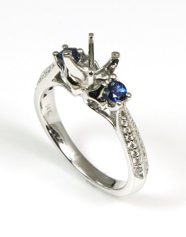 Sapphire and Diamond Bridal Ring Setting by Allison Kaufman