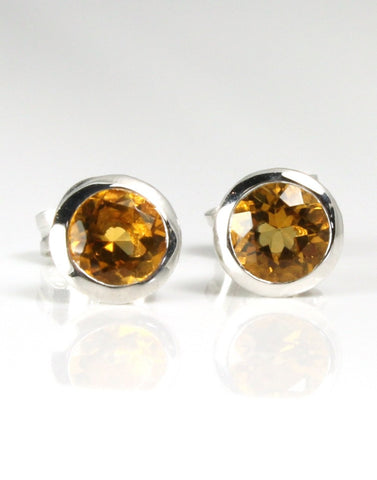 Citrine Bezel Earrings by Bastian-Inverun