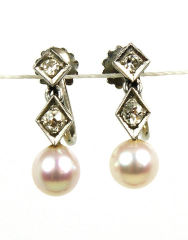 Pearl & Diamond Screw Back Earrings