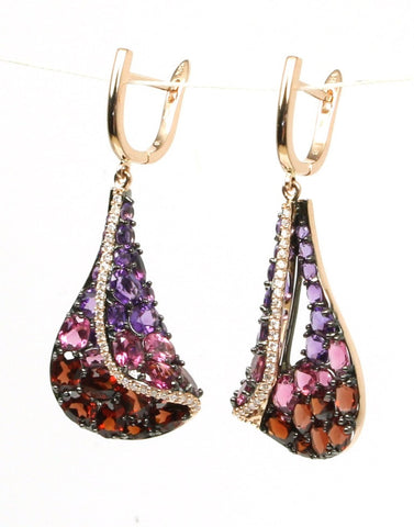 Amethyst, Pink Tourmaline, and Garnet Sail Earring by Allison Kaufman