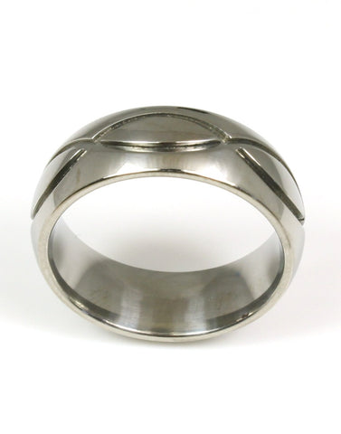 Titanium Carved Design Ring by Heavy Stone Rings