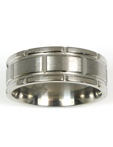 Titanium Block Design Ring by Heavy Stone Rings
