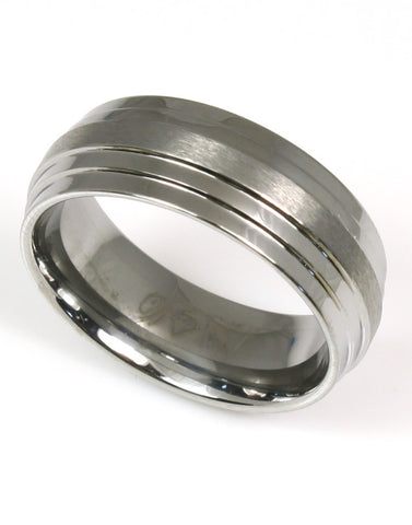 Tungsten Ridged Band by Heavy Stone Rings