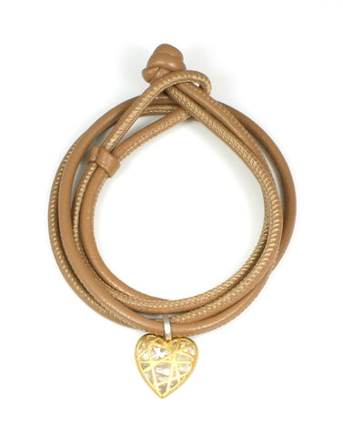 Caged Heart Leather Bracelet or Choker Necklace by Bastian-Inverun