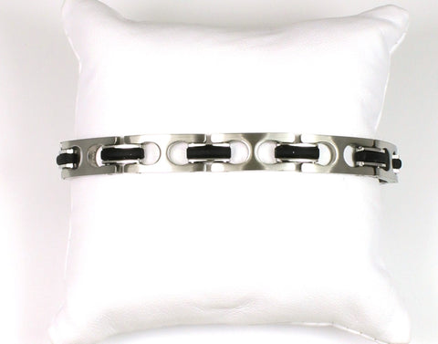 Rubber and Stainless Contemporary Bracelet