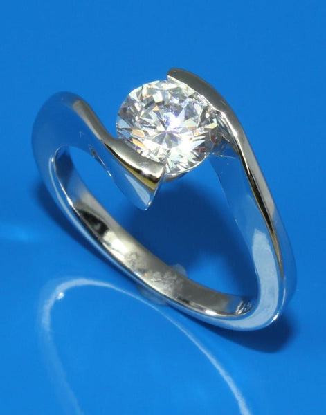 Half Bezel Diamond Solitaire Ring Setting