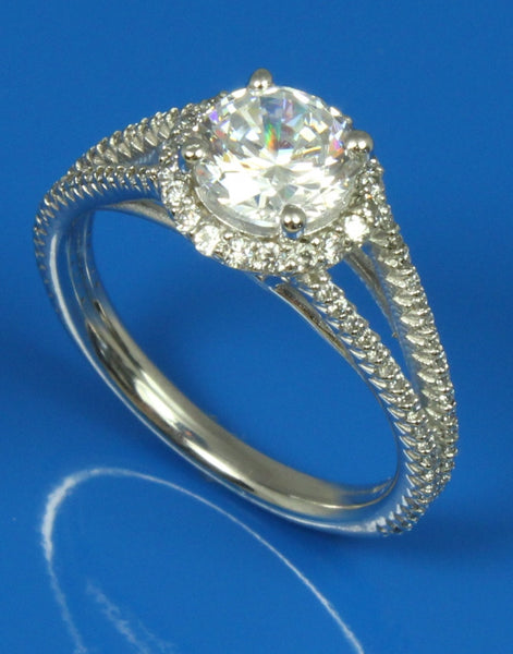 Split Band Diamond Halo Ring Setting