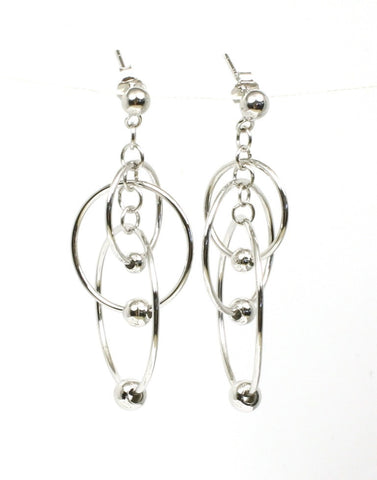 Circles with Ball Dangle Earrings