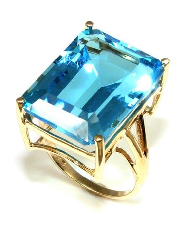 Large Emerald Cut Blue Topaz Ring