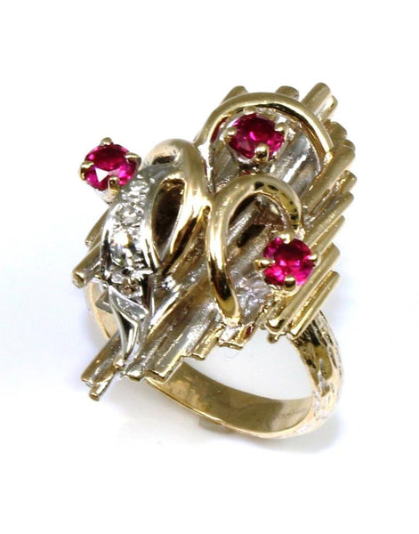 Bark Geometric Ruby Ring