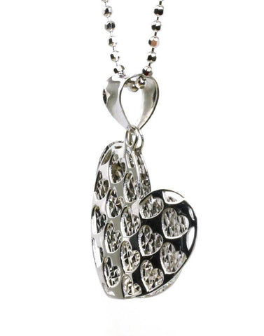 Double Shadow Diamond Cut Heart Pendant