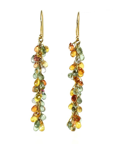 Multi Color Sapphire Dangle Earrings