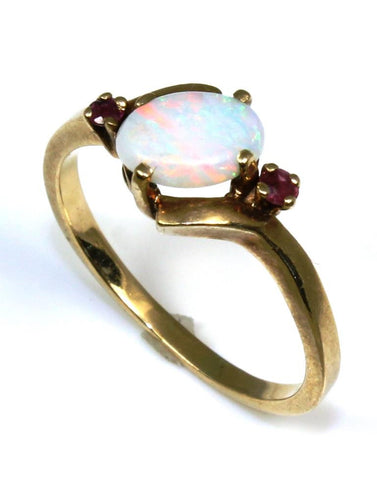 Oval Opal and Ruby Ring