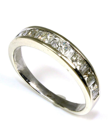 1ctw Princess and Baguette Diamond Band