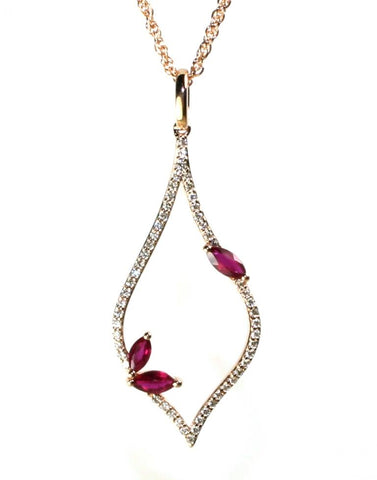 Ruby and Diamond Teardrop Necklace by Allison Kaufman