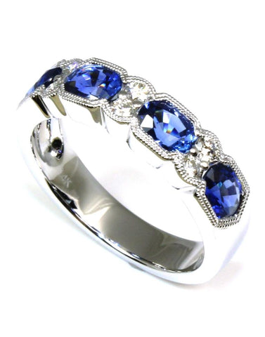 Oval Blue Sapphire and Diamond Band by Allison Kaufman