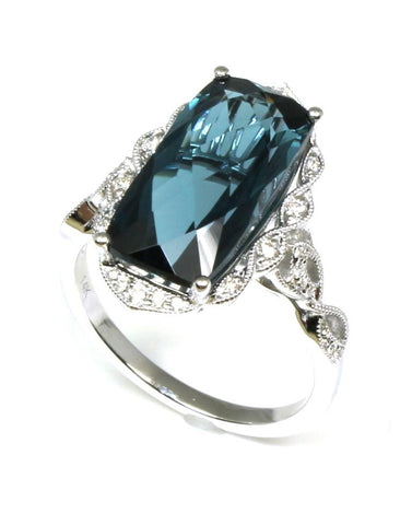 London Blue Topaz and Diamond Ring by Allison Kaufman