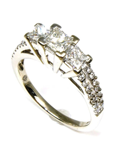 1.00ctw Princess Cut 3 Diamond Ring