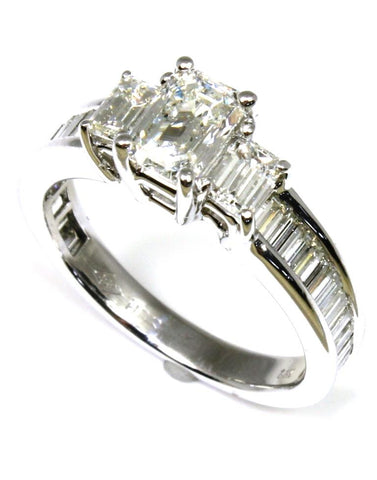 1.61ctw Emerald Cut Diamond Three Stone Ring