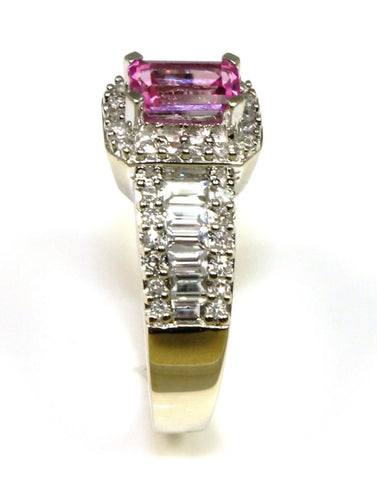 Pink and White Sapphire Ring with Diamond Accents