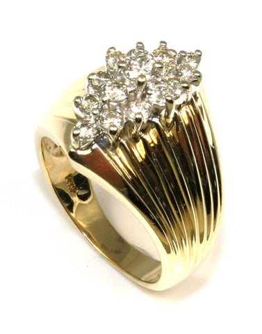 .50ctw Ribbed Diamond Cluster Ring