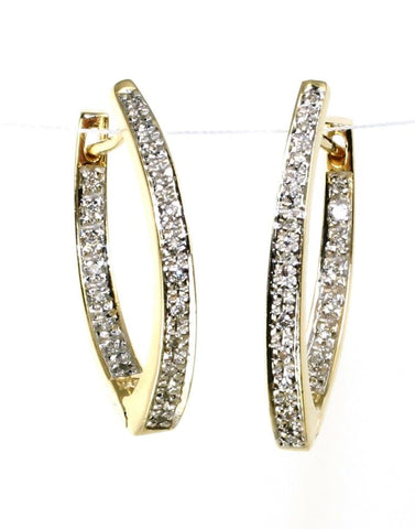 "Diamond .25ctw  ""V"" Hoop Earrings"