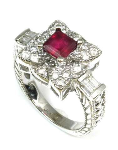 Ruby and Diamond Carved Ring