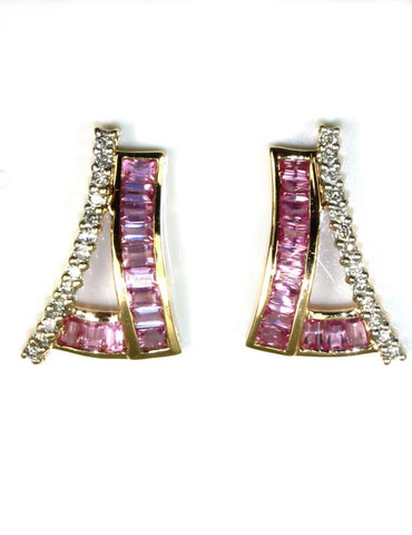 Pink Sapphire and Diamond Earring
