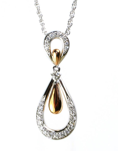 Diamond Rose and White Gold Necklace by Allison Kaufman