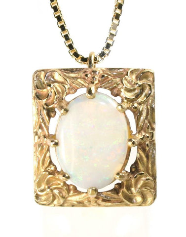 Rectangle Framed Opal Necklace