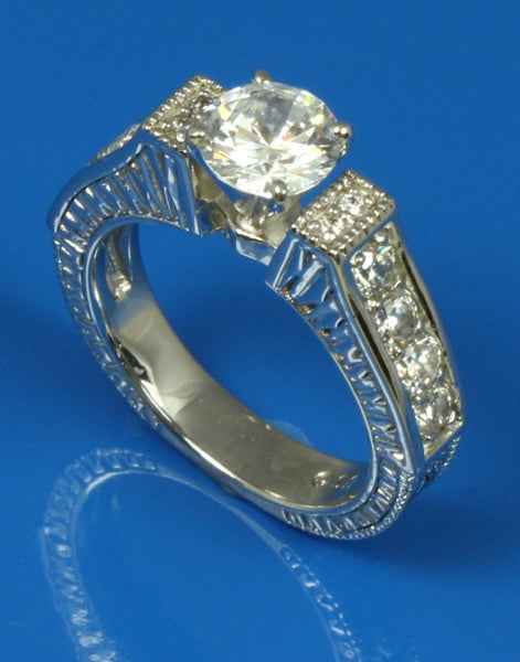 .59ctw Diamond Engraved Engagement Ring Setting
