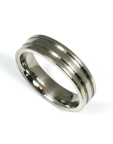 Titanium Grooved Band by Heavy Stone Rings
