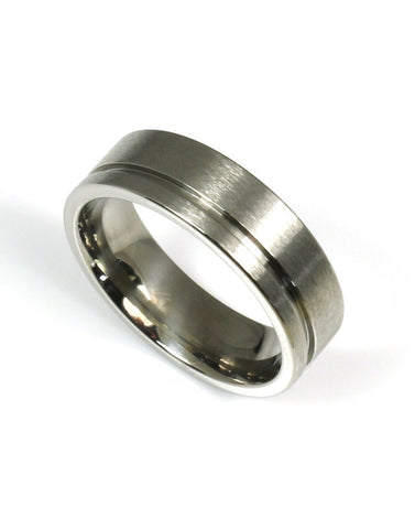 Titanium Groove Band by Heavy Stone Rings