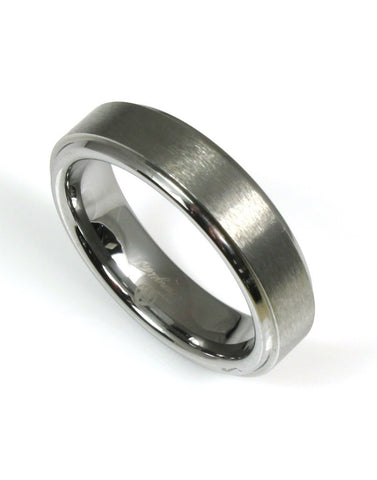 Tungsten Brushed with Edge Band by Heavy Stone Rings