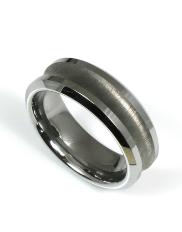 Tungsten Concave Band by Heavy Stone Rings