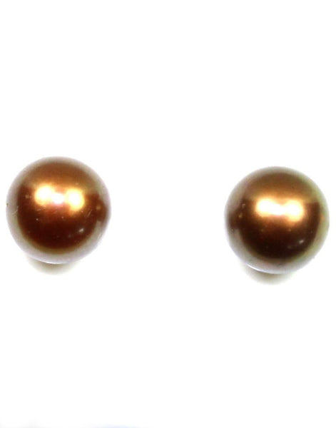 8mm Brown Pearl Stud Earrings