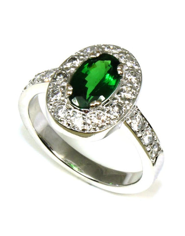 Tsavorite and Diamond Halo Ring