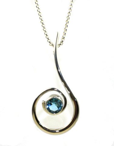Dancing Clef Blue Topaz Necklace by Ed Levin